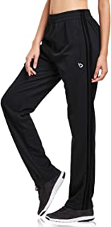 BALEAF Women's Open Bottom Lounge Sweat Pants Jogger Athletic Sweatpants Straight Leg Zippered Pockets