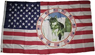 ALBATROS 3 ft x 5 ft USA America One Wolf Indian Native American Flag Knitted Grommets for Home and Parades, Official Party, All Weather Indoors Outdoors