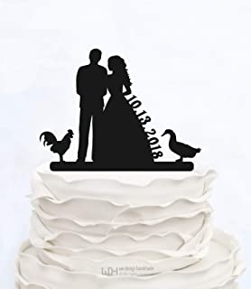 Cheyan Custom Wedding Cake Toppers with Date,Duck and Chicken Personalized Silhouette Bride and Groom Wedding Cake Toppers