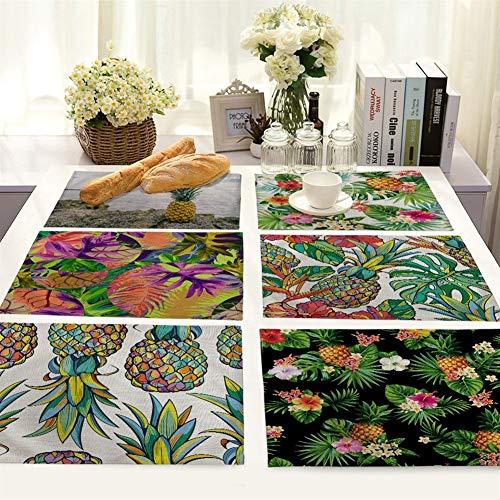 Placemat van groot katoen, linnen, set met 6 tafelkleden, Tropical Plant Painted Ananas print katoen linnen deken warmte afwasbaar tafel mat robuust Random 6 Different