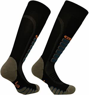 Eurosocks Snow Ski Socks, Ultra Smooth No Bunching, No Pinch Seamless Toe, Padded Shin Protection Comfort-3211