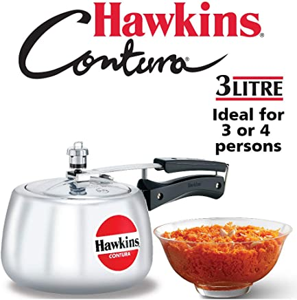 Hawkins Contura 3L Pressure Cooker (HC30) (8901165620848 Silver)