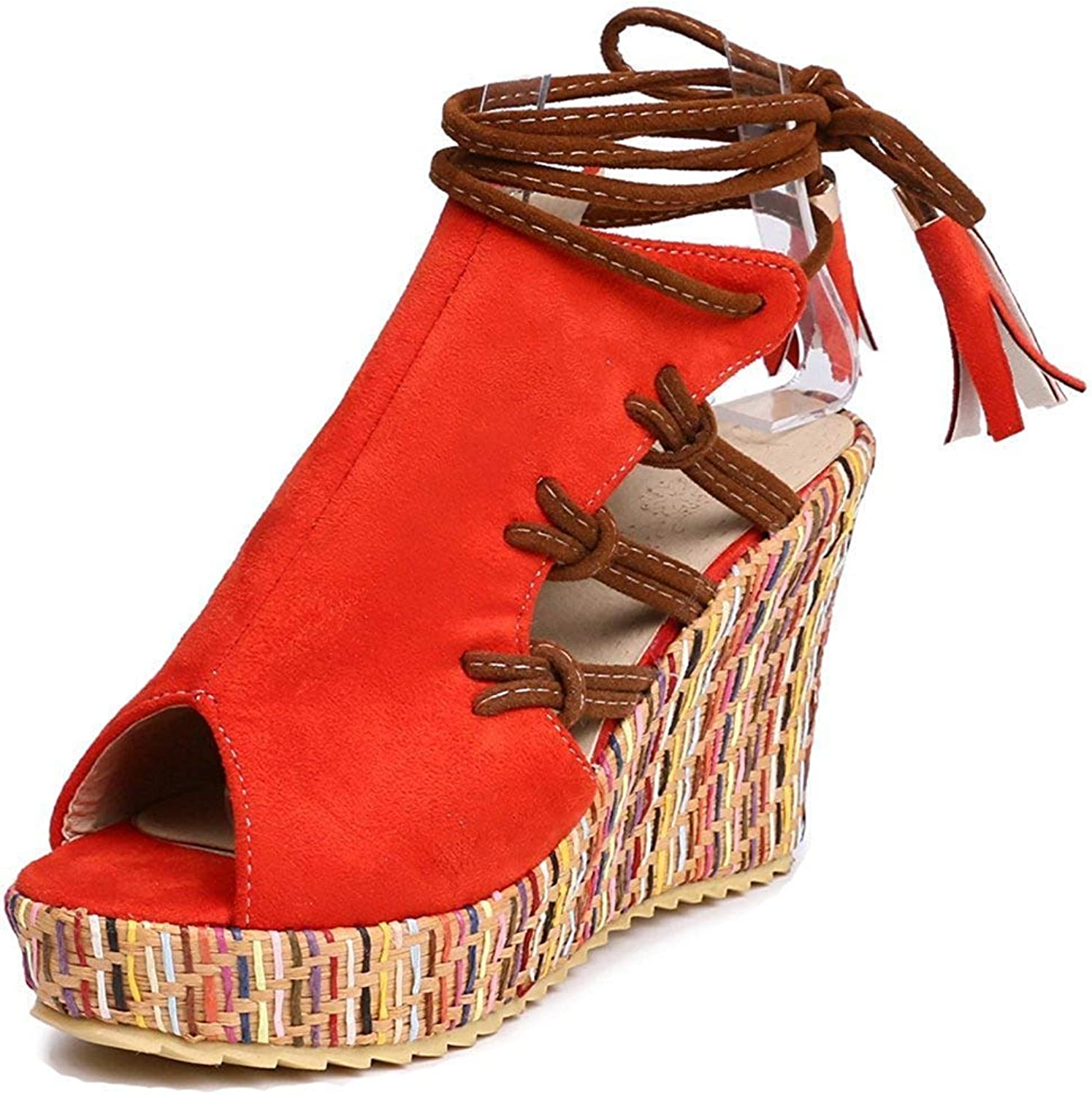 Women's Unique Fringed Self Tie Woven Peep Toe Ankle Wrap Platform High Heel Wedge Sandals