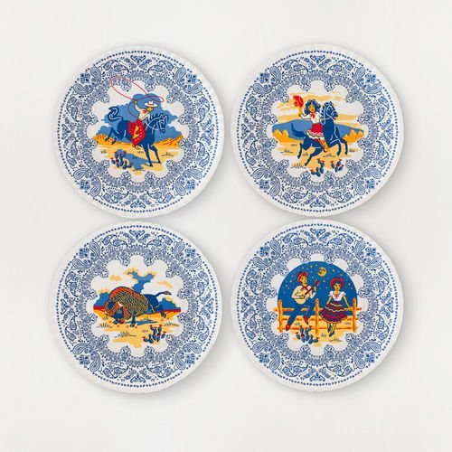 "Western -Themed ""Faux Paper"" Melamine Plates 7.5"" - Set of Four"