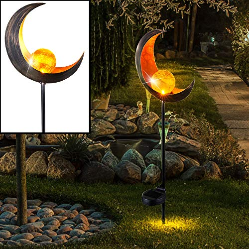 Solar LED Erdspieß Leuchte MOND Design Crackle Glas Kugel Außen Beleuchtung Terrassen Garten Hof Steck Lampe bronze