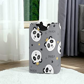 Princesse Panda Panier à linge Panier à linge Sac à linge sale Sac à linge pliable Coeur étoile grise Poubelle à laver Jou...