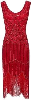 neveraway Women's 1920s V Neck Fringed Beaded Gatsby Theme Flapper Dress