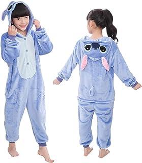 CQOQ Onesie Niños Pijamas For Niños Manta Traviesas Animal De La Historieta del Bebé del Traje De La Muchacha del Invierno Jumspuit (Color : Blue Stitch, Size : 8)