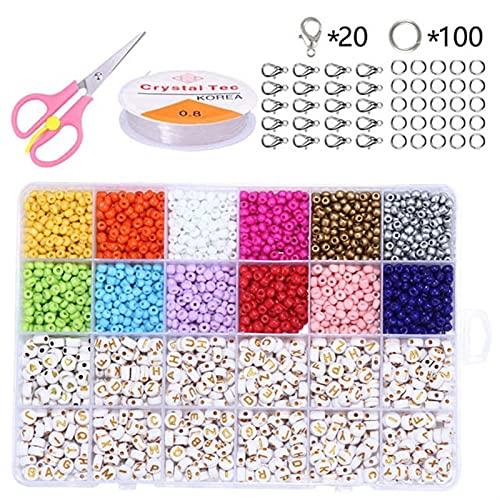 Kit de cuentas de semillas de colores Coloridas cuentas de perlas de artesanía para la fabricación de joyas que incluyen la pulsera de las perlas del kit de letras del alfabeto de las cuentas para el