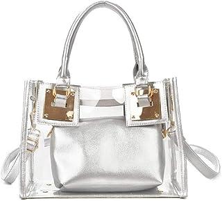 Segater® Bolso cruzado transparente para mujer, bolso de playa de moda transparente con asa superior, bolso de hombro tran...