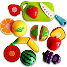 ZHENGTU Realistic Sliceable Cutting Play Kitchen Toy with Fruits, Vegetables, Knife, Plate and Cutting-Board for Kids (Multicolour) - Set of 7pcs