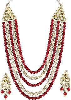 Shining Diva Fashion Latest Stylish 18k Gold Plated Kundan Wedding Necklace Set for Women