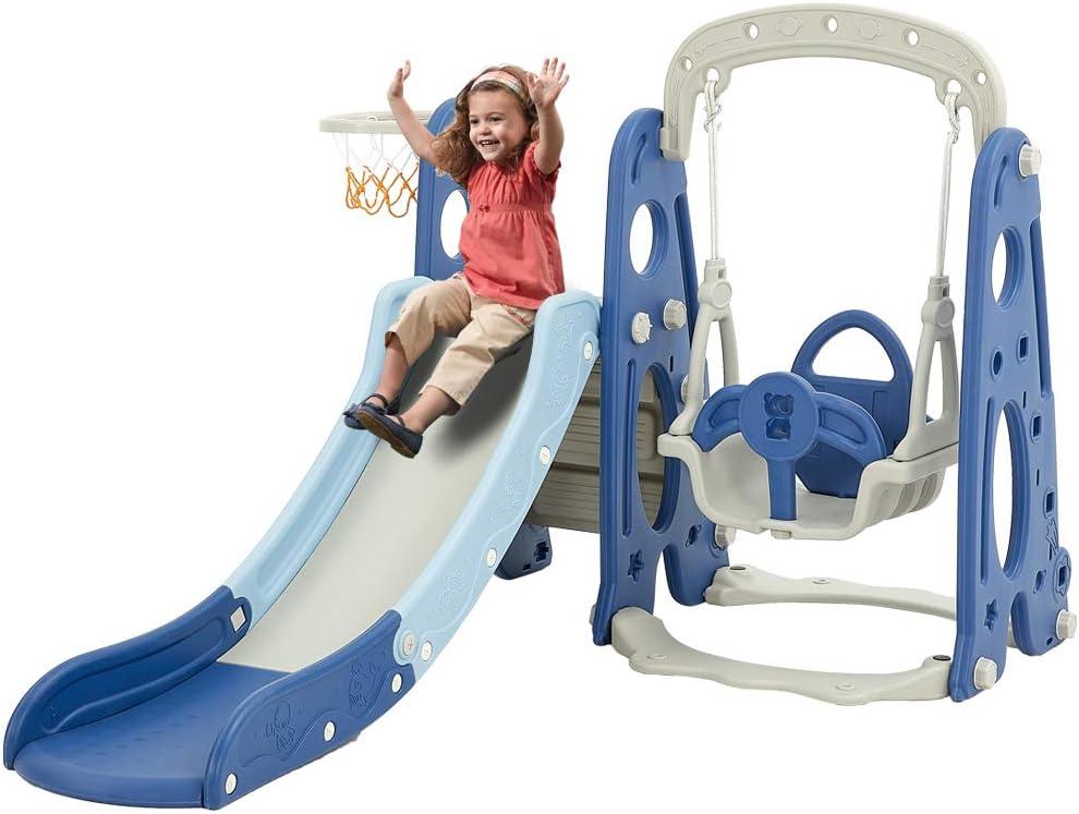 Albott 4 in 1 Toddler Slide and Swing Set - Kids Play Climber Sl