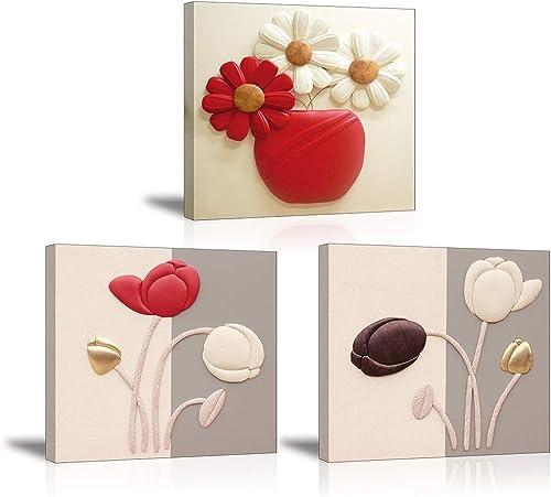 Piy Painting Impression sur Toile Tulipes élégantes Peinture Fleur de Marguerite Représente l'amour Pur Tableau Prêt ...