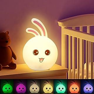 CNSUNWAY LIGHTING LED Veilleuse Enfant, 7 couleurs LED Lampe en Silicone, Veilleuse Pour Bébé Pour Chambre, USB rechargeab...