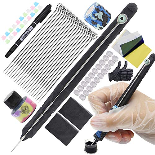 Hand Poke and Stick Tattoo Kit - Rayyl Stick and Poke Pen Kit Black 3D Hand Poke Pen 20pcs Aghi per tatuaggio Inchiostro per tatuaggi Accessori per tatuaggi Forniture per tatuaggi fai da te Kit