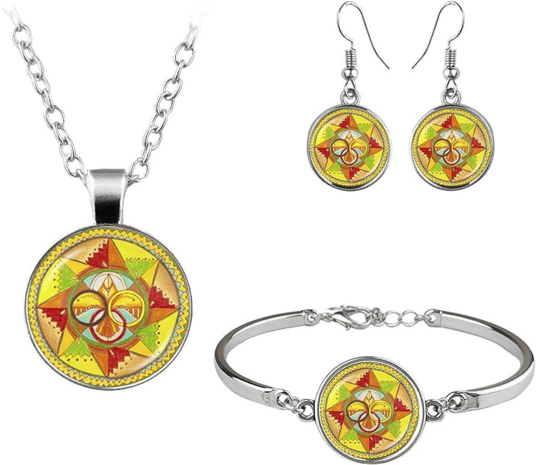 Vintage Glass Jewelry Set Necklace Bracelet Earrings For Women Party Jewellery Gift
