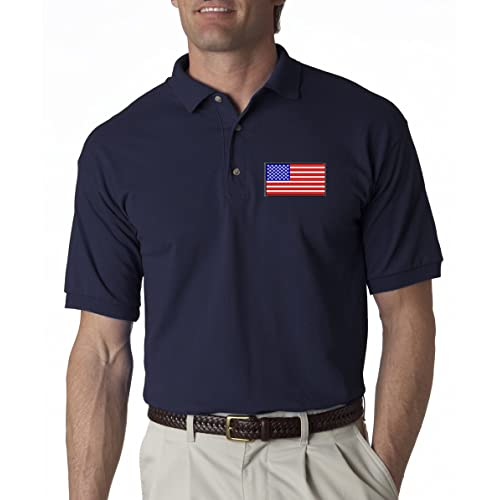 A2S Addicted2shirts American Flag Chest Logo USA Pride Embroidered Polo Shirt S-3XL 8 Colors