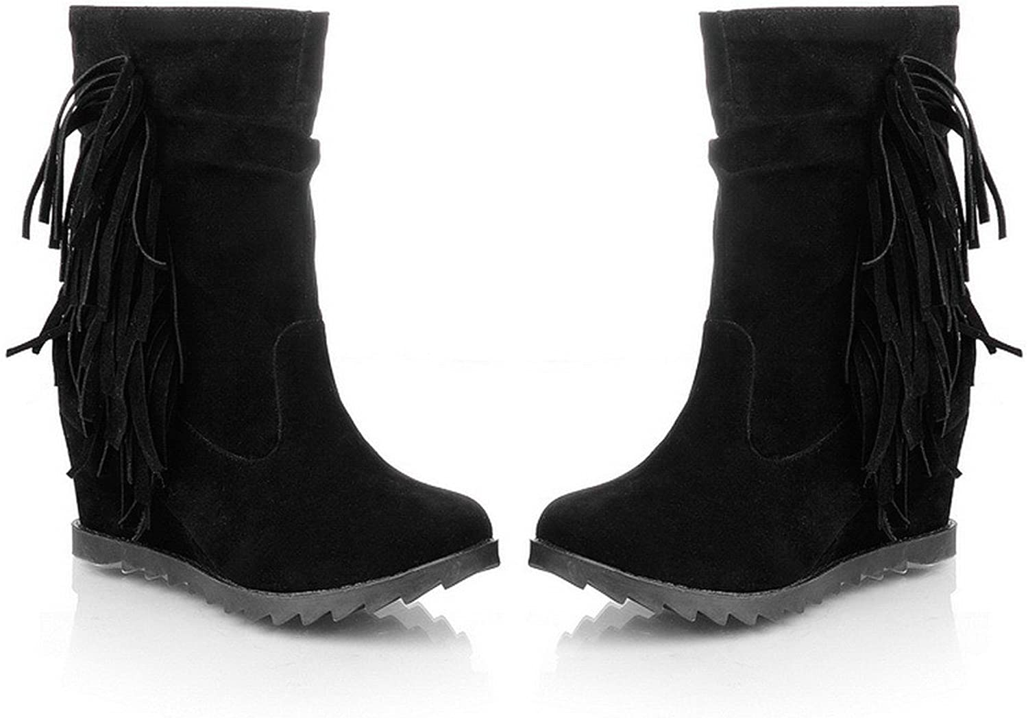 AmoonyFashion Womens Closed Round Toe Kitten Heels PU Short Plush Solid Boots with Tassels and Wedge, Black, 7.5 B(M) US