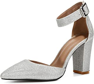 fereshte Women's Ankle Strap Pointed-Toe Chunky Block High Heel Dress Pump Shoes
