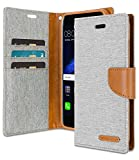 Goospery Canvas Wallet for Huawei P8 Lite 2017 Case Denim Stand Flip Cover with 4 Gifts (Gray) HWP8L2017-CAN/GF-GRY