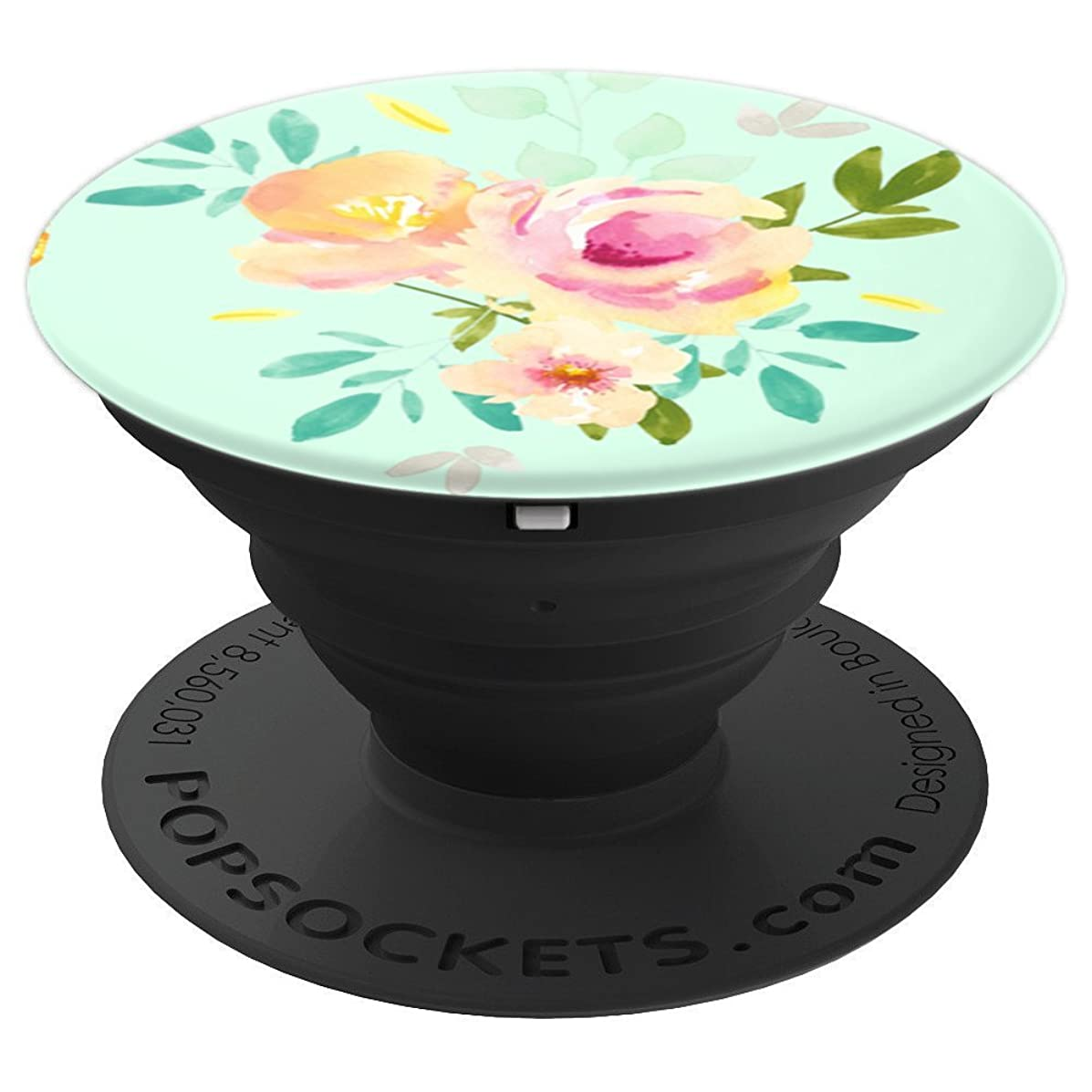 Mint and Peach Rose Flower Floral - PopSockets Grip and Stand for Phones and Tablets