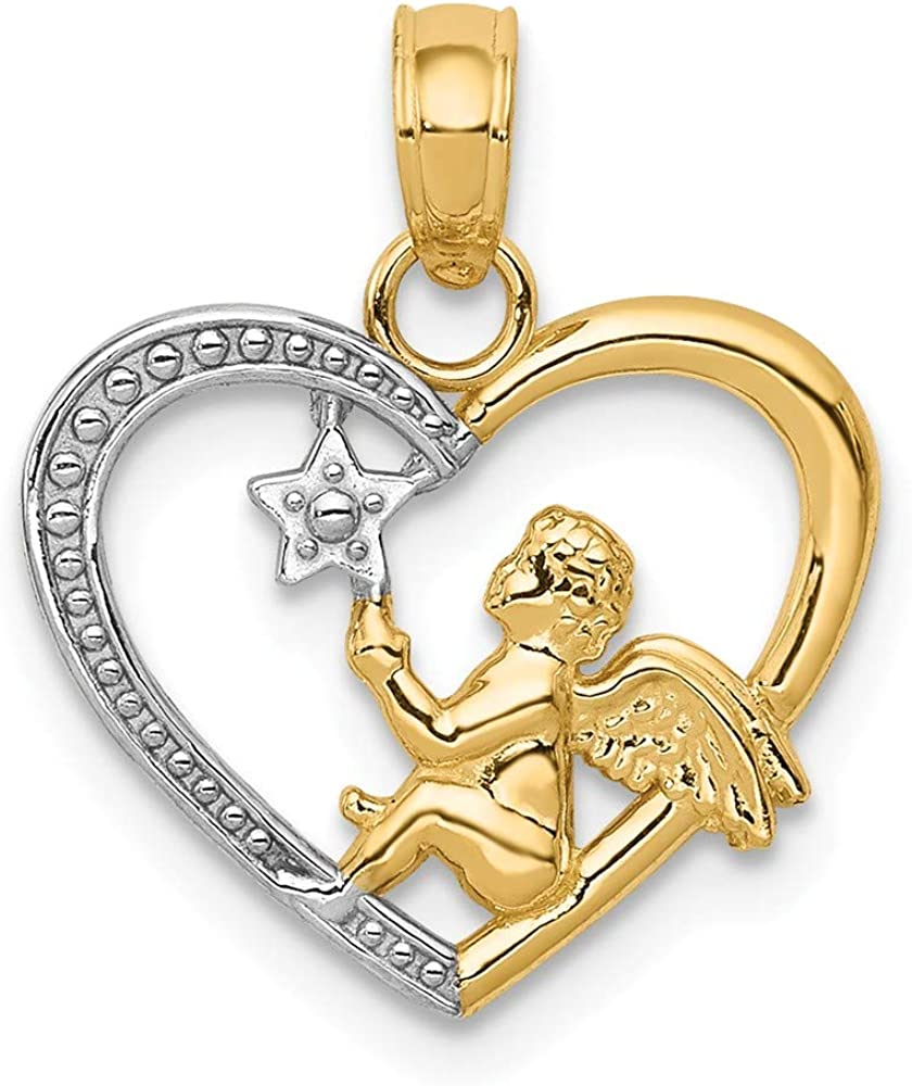 Los Angeles Mall 14k Yellow Gold Angel In Heart New Free Shipping Star Necklace Pendant Charm Relig