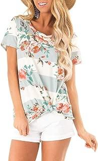 Women's Casual Short Sleeve T-Shirt Tops Twist Knot Front Tunics
