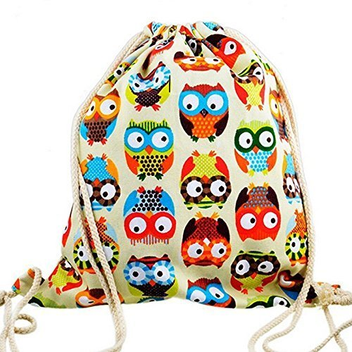 PULABO Canvas Bale Drawstring Backpack Owl Stylish Packet Sport Sacks Belt Handbag Travel Package Cute Casual Pouch Tote Bag for Outdoor Durable and Useful Lovely