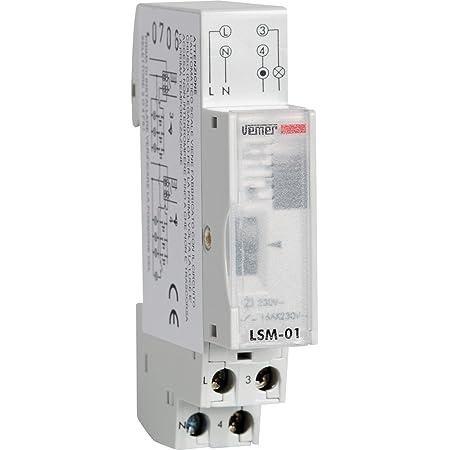 Vemer VE073300 Interruttore LSM-01 Temporizzatore Luci Scale Elettromeccanico da Barra DIN, Grigio Chiaro