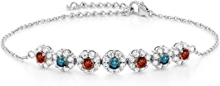 Gem Stone King 925 Sterling Silver 1.25 Ct Round Red Garnet Blue Diamond 7 Inch Tennis Bracelet