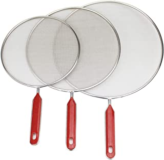 3PCS Set Stainless Steel Splatter Screen With ABS Handle 11 Inch Anti Grease Splash Scald Proof Frying Pan Cover Cooking T...