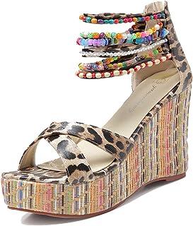 d51c97285c45 getmorebeauty Women's Wedge Sandals with Pearls Across The Top Platform  Sandals High Heels