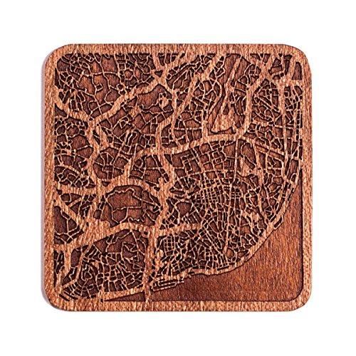 Lissabon Map Untersetzer von O3 Design Studio, 1 Stück, Sapeli-Holz-Untersetzer mit Stadtkarte, mehrere Stadt optional, handgefertigt