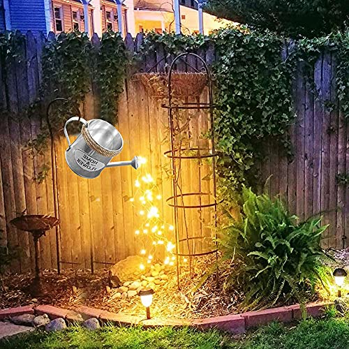 WOERD Watering Can Decoration with Lights Star Shower Garden Art Light Decoration Waterproof Battery Operated Pouring Out Starry Fairy Waterfall Light For Yard Garden Lawn Path Lamp Lights