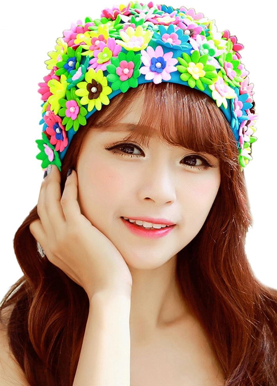Oncefirst Ladies Long Hair Flowers Swim Cap Petals Pearl Swimming Caps