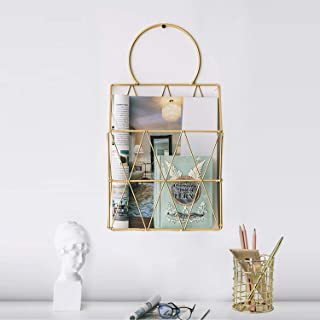 GBYAN File Organizer with Pencil Cup Gold Wire Metal Document Storage Holder Magazine Rack for Office and Home, 2 Pack (Hanging)