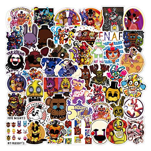 50Pcs Pegatinas de vinilo impermeables de Five Nights at Freddy's Stickers para ordenador portátil, parachoques, patineta, botellas de agua, ordenador, teléfono, pegatinas de juegos de terror