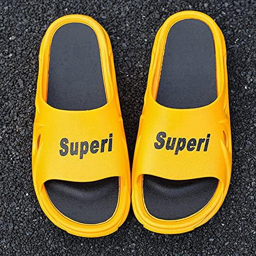 Yumanluo Chanclas Hombre Sandalias de Dedo Planas Flip Flops Playa Piscina Verano Zapatos de Playa Antideslizante para Adulto Men,Sandalias Plataforma Pareja-Amarillo_36-37