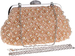 Personality Luxury Ladies Fashion Beaded Embroidery/flower/crystal Rhinestone/chain Evening Banquet Bag Dress Clutch Bag Shoulder Messenger Bag Boutique (Color : Orange)