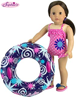 18 Inch Doll Swimwear, Hot Pink Polka Dot Bathing Suit & Summer Inner Tube, Perfect Summer Fun for Your 18 Inch American Girl Doll Clothes & More! Polka Dot Bathing Suit with Pool Toy