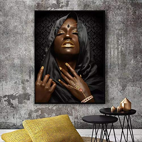Arte africano Mujer negra y desnuda Pintura al óleo sobre lienzo Cuadros Carteles e impresiones Sala de estar nórdica Sin marco Cuadro mural decorativo K26 60x90cm