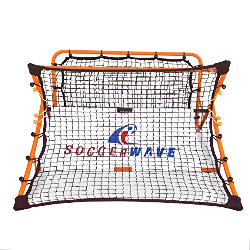 Patented,Trademarked SoccerWave Jr. 2 in 1 Soccer Rebounder net to Improve Passing Accuracy, Volley Shot and Trapping. Works as a Solo Trainer or Team Training for All Soccer Drills.