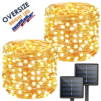 KAQ Solar String Lights, 2-Pack Upgraded Oversize 300LED Solar Powered Fairy Lights, 8 Modes Waterproof Outdoor/Indoor Starbright Solar Lights for Patio, Wedding, Yard, Party, Garden (Warm White)
