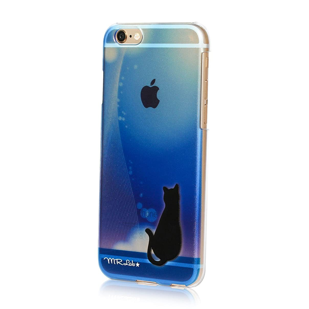 詐欺師デクリメント羽MRLab iPhone6sケース 青 黒猫 グラデーション