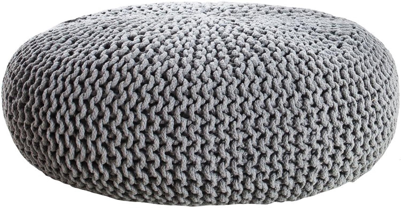 Invicta Interior Design Strick Pouf LEEDS XXL grau 70 cm Hocker Baumwolle in Handarbeit