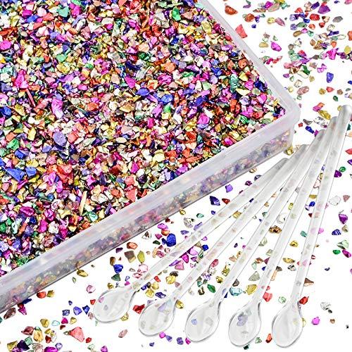 WANDIC Vidrio machacado, 200 gramos 2-4 mm colorido triturado vidrio roto triturado, chips metálicos irregulares rellenos rociadores para manualidades de resina, arte de uñas, pintura
