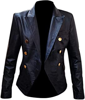 Kim Kardashian Double Breasted Bistro Golden Button Black Real Leather Jacket for Women's