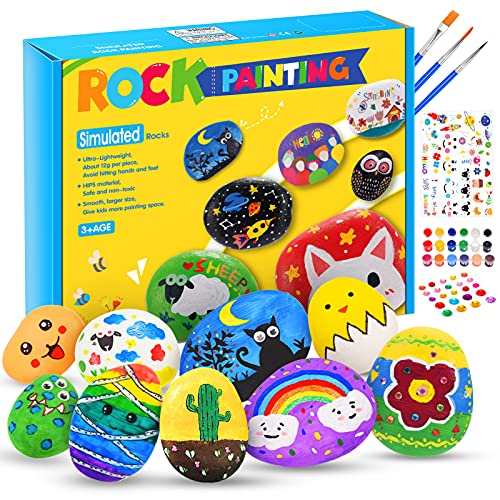 Hotikin Toys for 5 6 7 8 9 10 Year Old Girls Boys, Rock Painting Kit Craft...