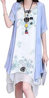 【福丸】 レディース ワンピーススーツ ロング ワンピース 綿 夏 ドレス 羽織 ノースリーブ aライン ゆったり 2点セット きれいめ 大きいサイズ 5l